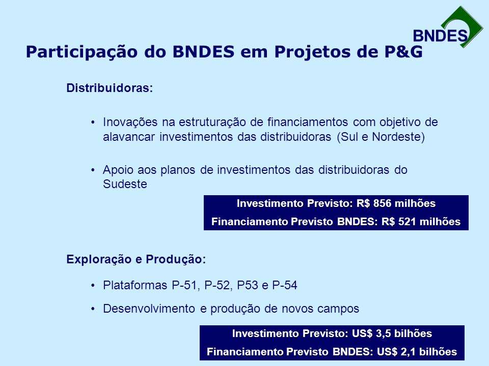 Participação do BNDES em Projetos de P&G