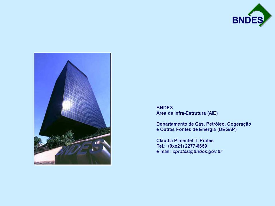 BNDES Área de Infra-Estrutura (AIE) Departamento de Gás, Petróleo, Cogeração e Outras Fontes de Energia (DEGAP) Cláudia Pimentel T.