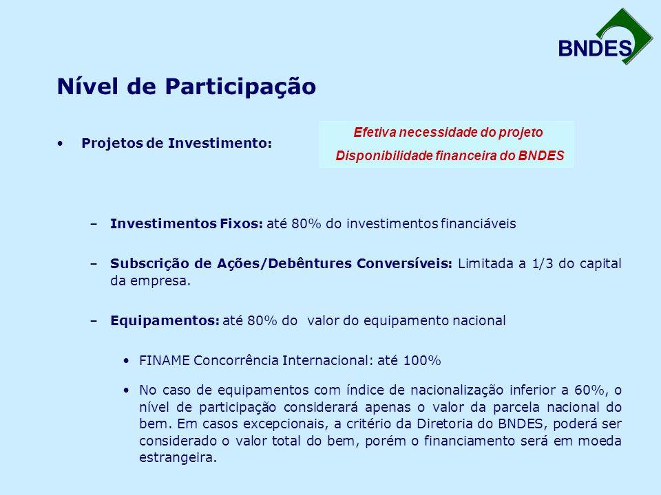 Efetiva necessidade do projeto Disponibilidade financeira do BNDES