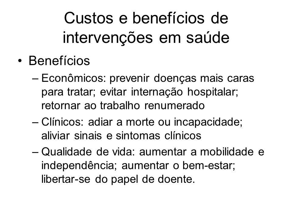 Custos e benefícios de intervenções em saúde