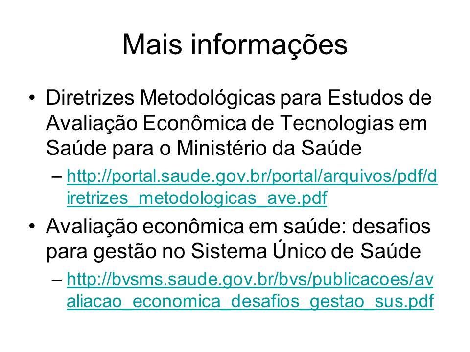 Mais informações Diretrizes Metodológicas para Estudos de Avaliação Econômica de Tecnologias em Saúde para o Ministério da Saúde.