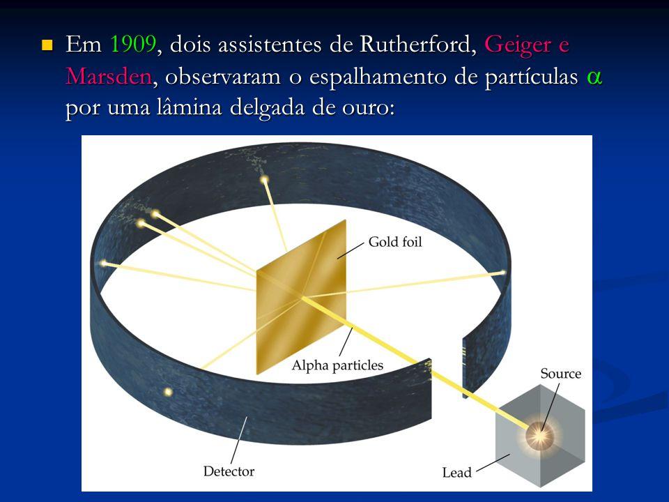 Em 1909, dois assistentes de Rutherford, Geiger e Marsden, observaram o espalhamento de partículas a por uma lâmina delgada de ouro: