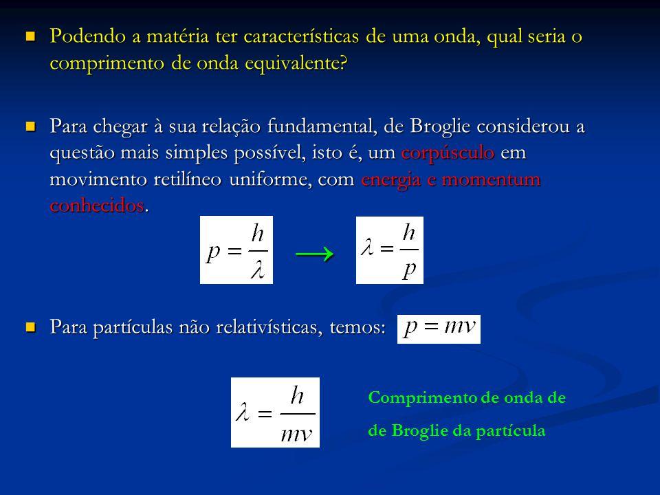 Para partículas não relativísticas, temos: