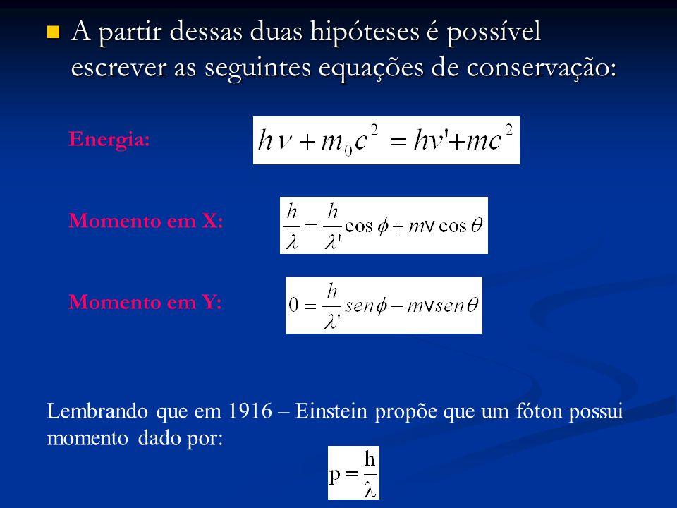 A partir dessas duas hipóteses é possível escrever as seguintes equações de conservação: