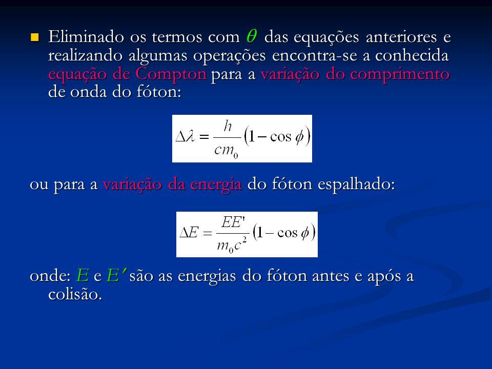 Eliminado os termos com  das equações anteriores e realizando algumas operações encontra-se a conhecida equação de Compton para a variação do comprimento de onda do fóton: