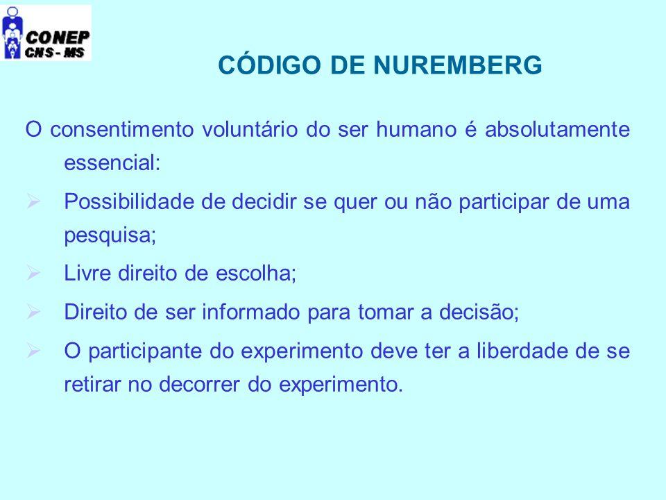 CÓDIGO DE NUREMBERG O consentimento voluntário do ser humano é absolutamente essencial: