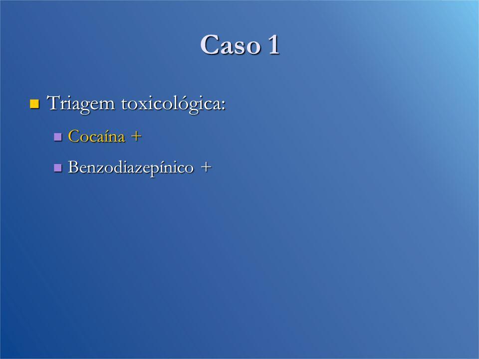 Caso 1 Triagem toxicológica: Cocaína + Benzodiazepínico +