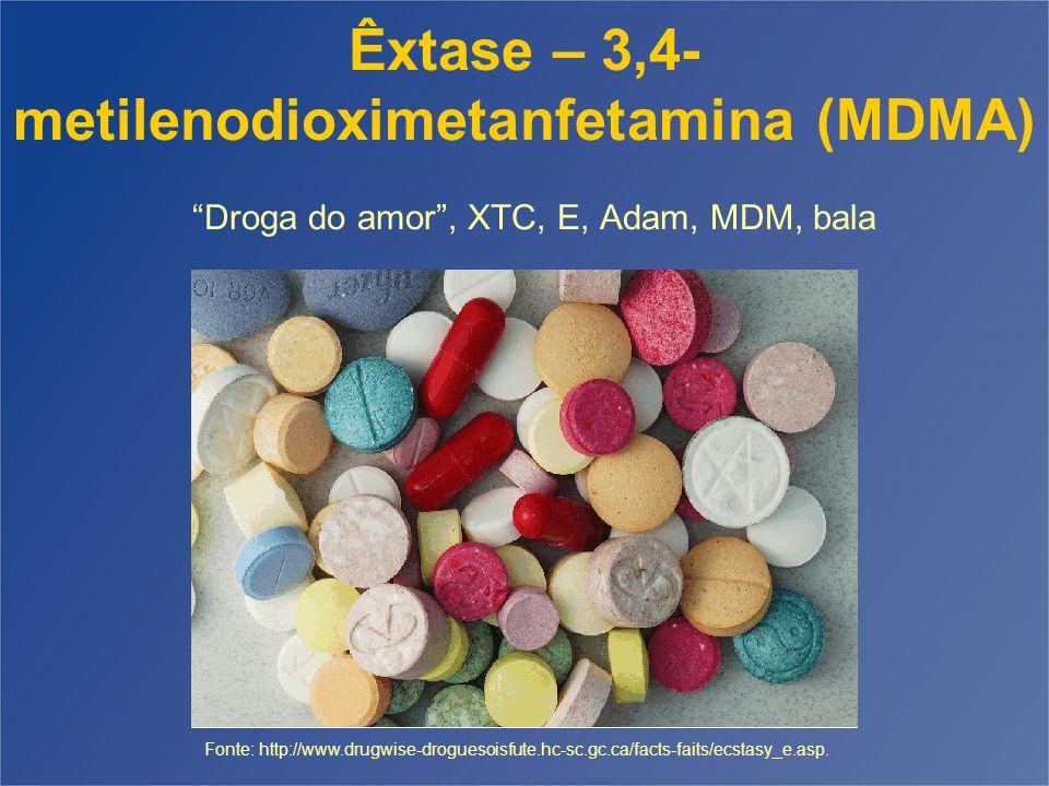 Êxtase – 3,4-metilenodioximetanfetamina (MDMA) Droga do amor , XTC, E, Adam, MDM, bala