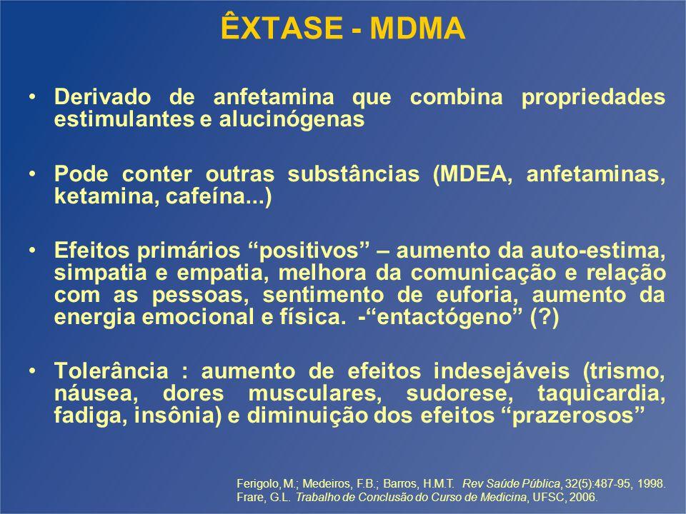 ÊXTASE - MDMA Derivado de anfetamina que combina propriedades estimulantes e alucinógenas.