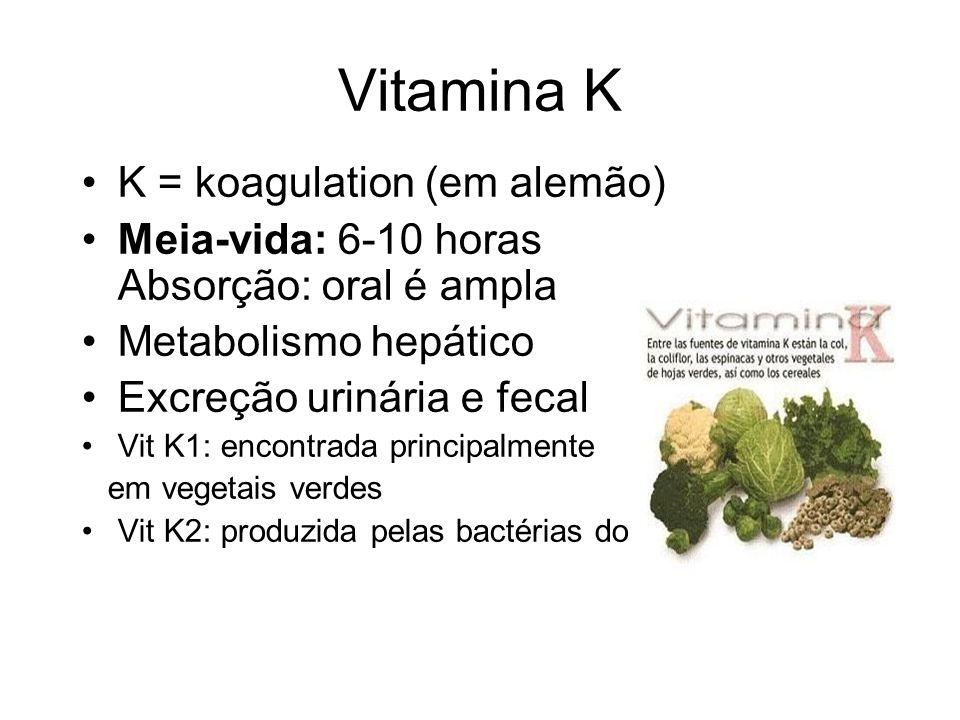Vitamina K K = koagulation (em alemão)