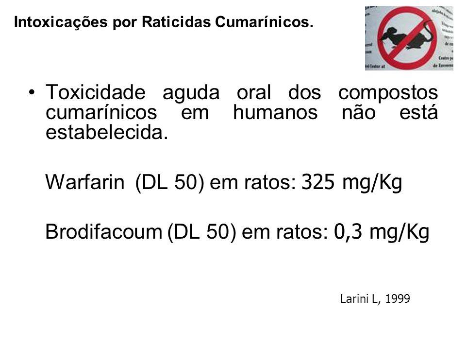 Warfarin (DL 50) em ratos: 325 mg/Kg