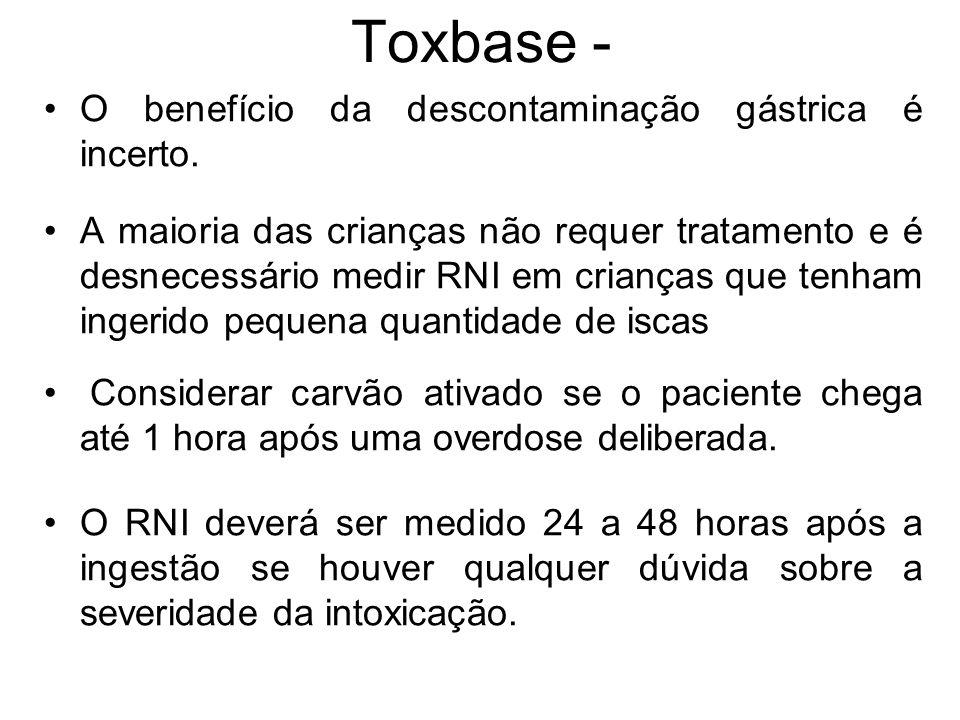 Toxbase - O benefício da descontaminação gástrica é incerto.
