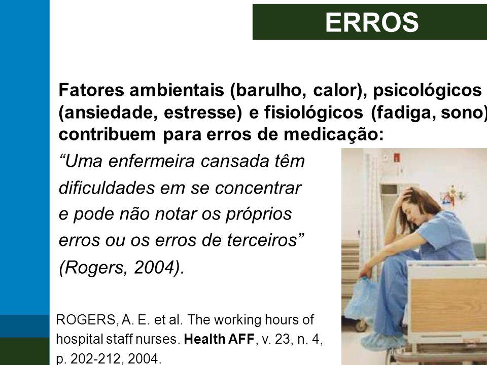 ERROS Fatores ambientais (barulho, calor), psicológicos (ansiedade, estresse) e fisiológicos (fadiga, sono) contribuem para erros de medicação: