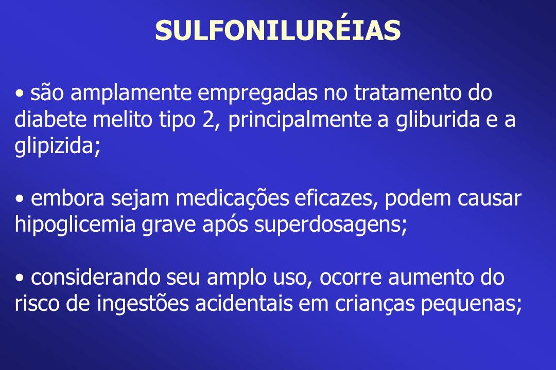 SULFONILURÉIAS são amplamente empregadas no tratamento do diabete melito tipo 2, principalmente a gliburida e a glipizida;