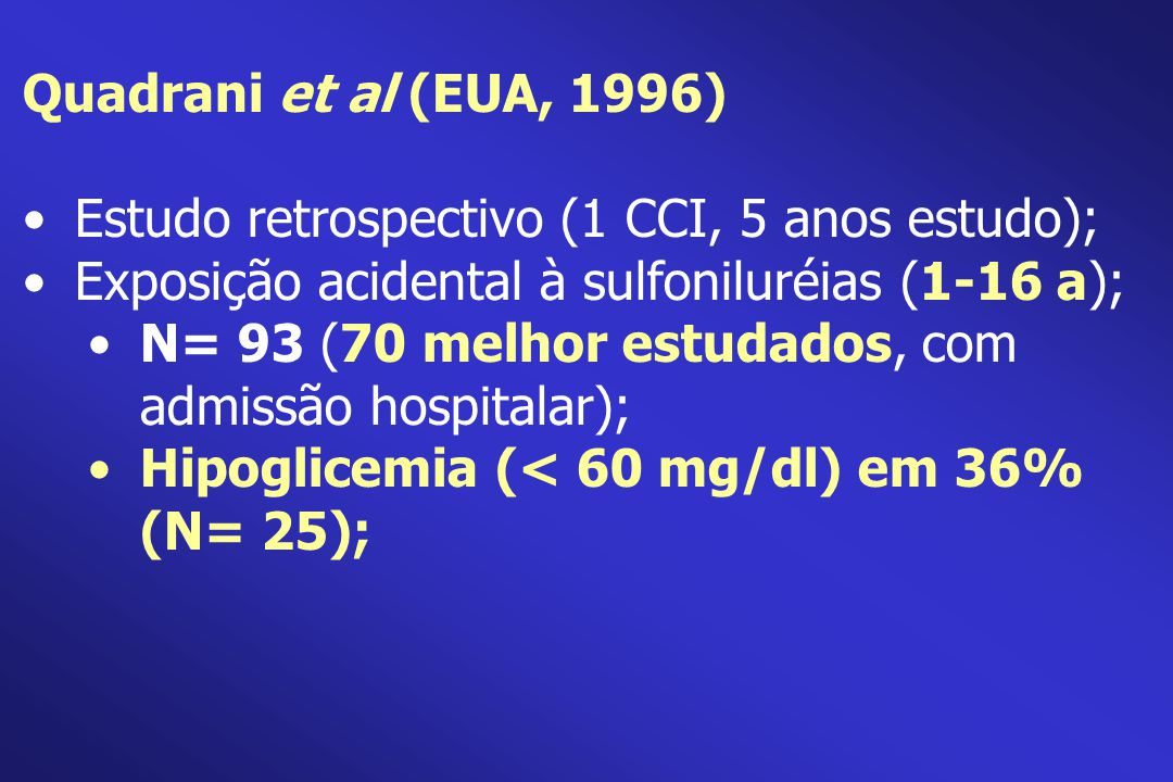 Estudo retrospectivo (1 CCI, 5 anos estudo);