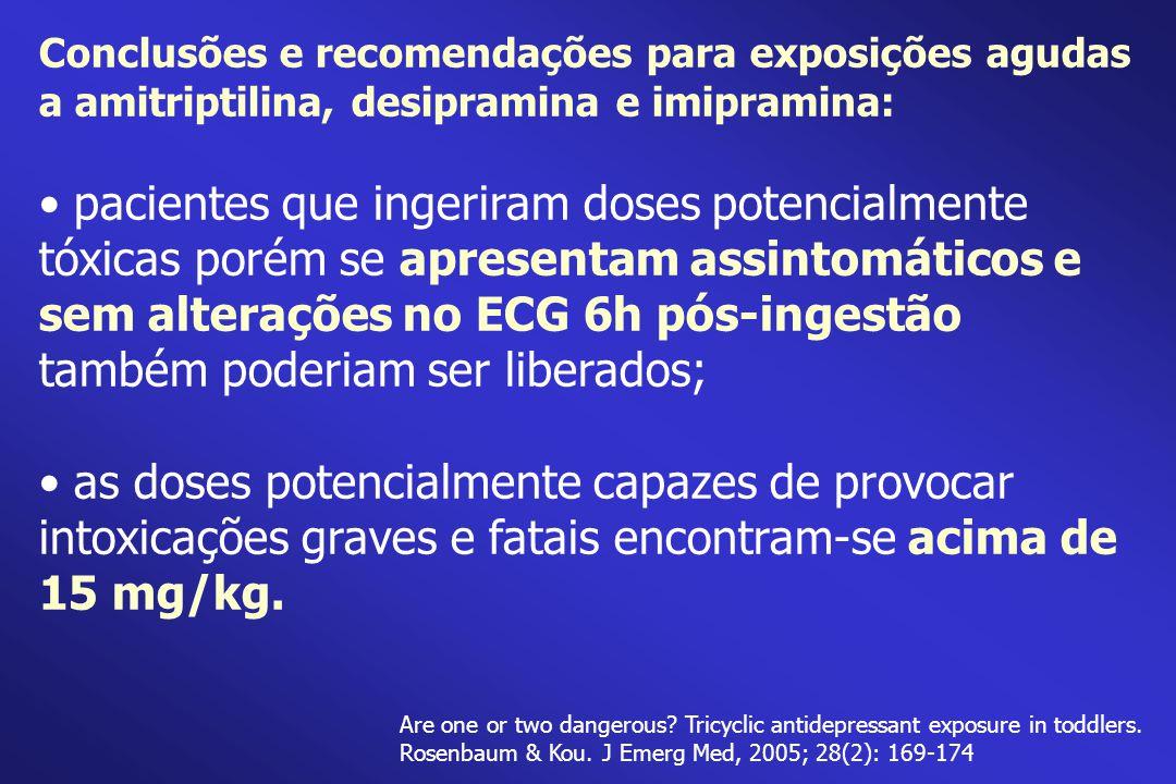 Conclusões e recomendações para exposições agudas a amitriptilina, desipramina e imipramina:
