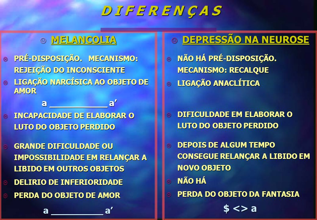 D I F E R E N Ç A S MELANCOLIA DEPRESSÃO NA NEUROSE $ <> a