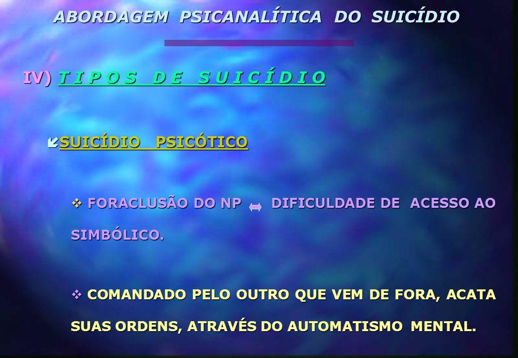 ABORDAGEM PSICANALÍTICA DO SUICÍDIO