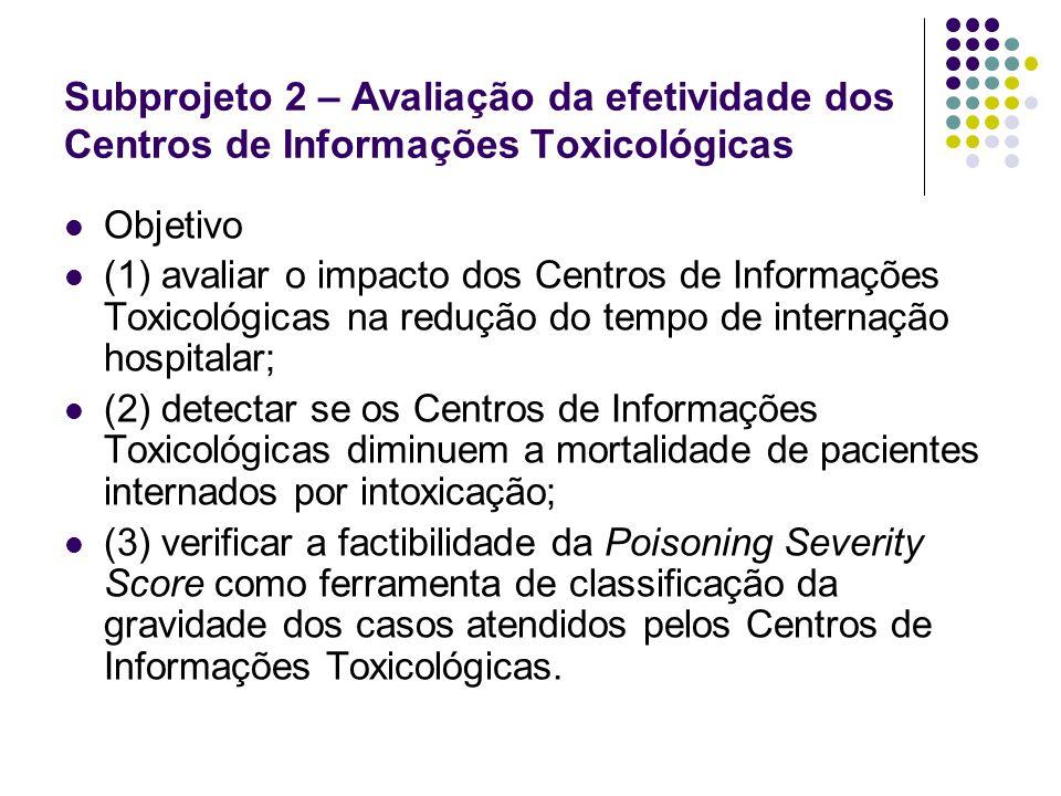 Subprojeto 2 – Avaliação da efetividade dos Centros de Informações Toxicológicas