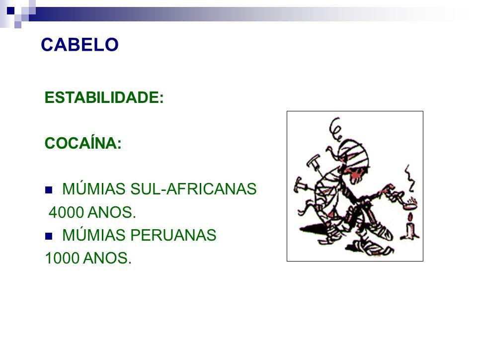 CABELO ESTABILIDADE: COCAÍNA: MÚMIAS SUL-AFRICANAS 4000 ANOS.