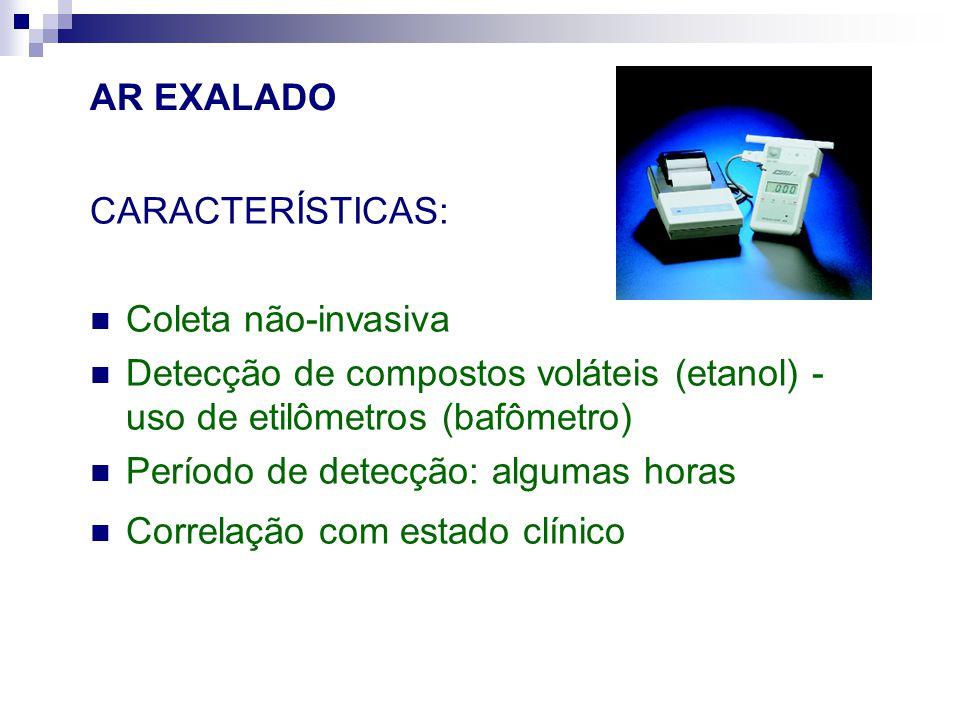 AR EXALADO CARACTERÍSTICAS: Coleta não-invasiva. Detecção de compostos voláteis (etanol) - uso de etilômetros (bafômetro)