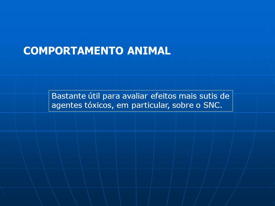 COMPORTAMENTO ANIMAL Bastante útil para avaliar efeitos mais sutis de