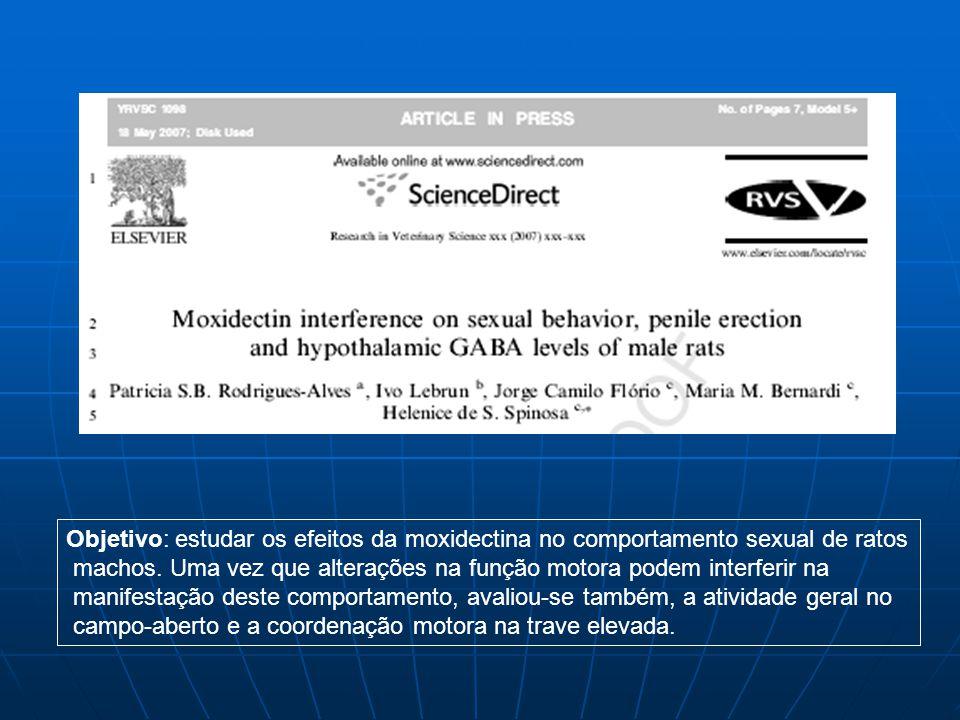 Objetivo: estudar os efeitos da moxidectina no comportamento sexual de ratos