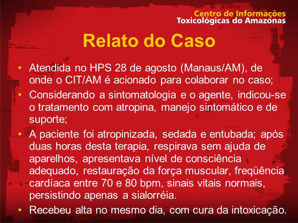 Relato do Caso Atendida no HPS 28 de agosto (Manaus/AM), de onde o CIT/AM é acionado para colaborar no caso;
