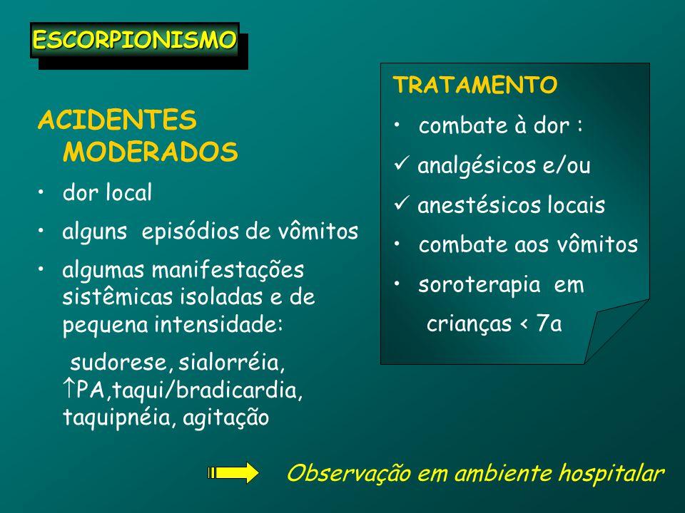 ACIDENTES MODERADOS ESCORPIONISMO TRATAMENTO combate à dor :