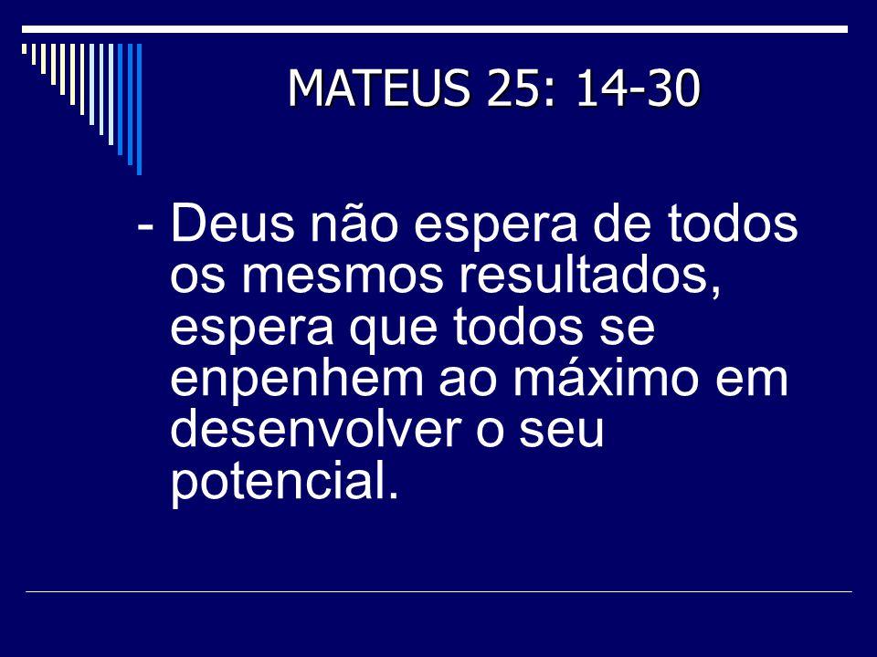 MATEUS 25: 14-30 - Deus não espera de todos os mesmos resultados, espera que todos se enpenhem ao máximo em desenvolver o seu potencial.