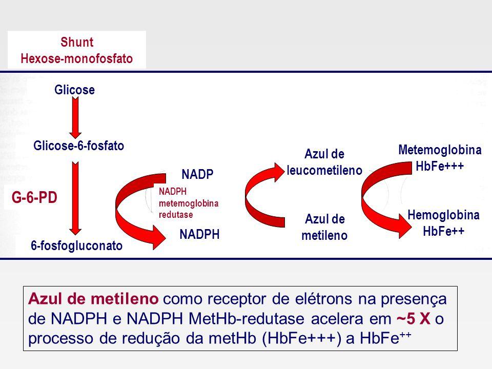 Shunt Hexose-monofosfato. Glicose. Glicose-6-fosfato. Metemoglobina. HbFe+++ Azul de leucometileno.
