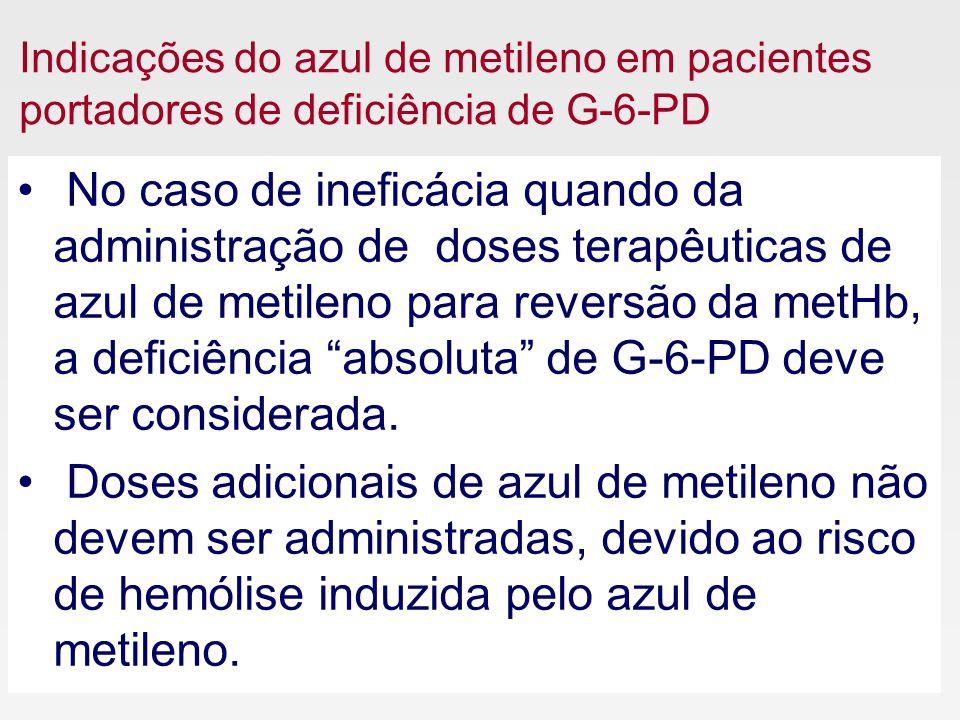 Indicações do azul de metileno em pacientes portadores de deficiência de G-6-PD