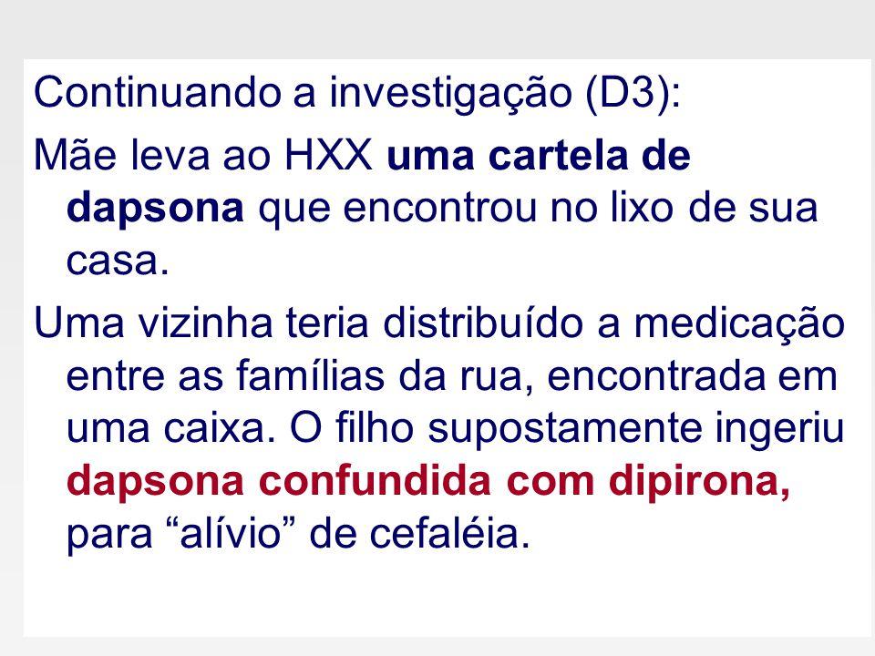 Continuando a investigação (D3): Mãe leva ao HXX uma cartela de dapsona que encontrou no lixo de sua casa.