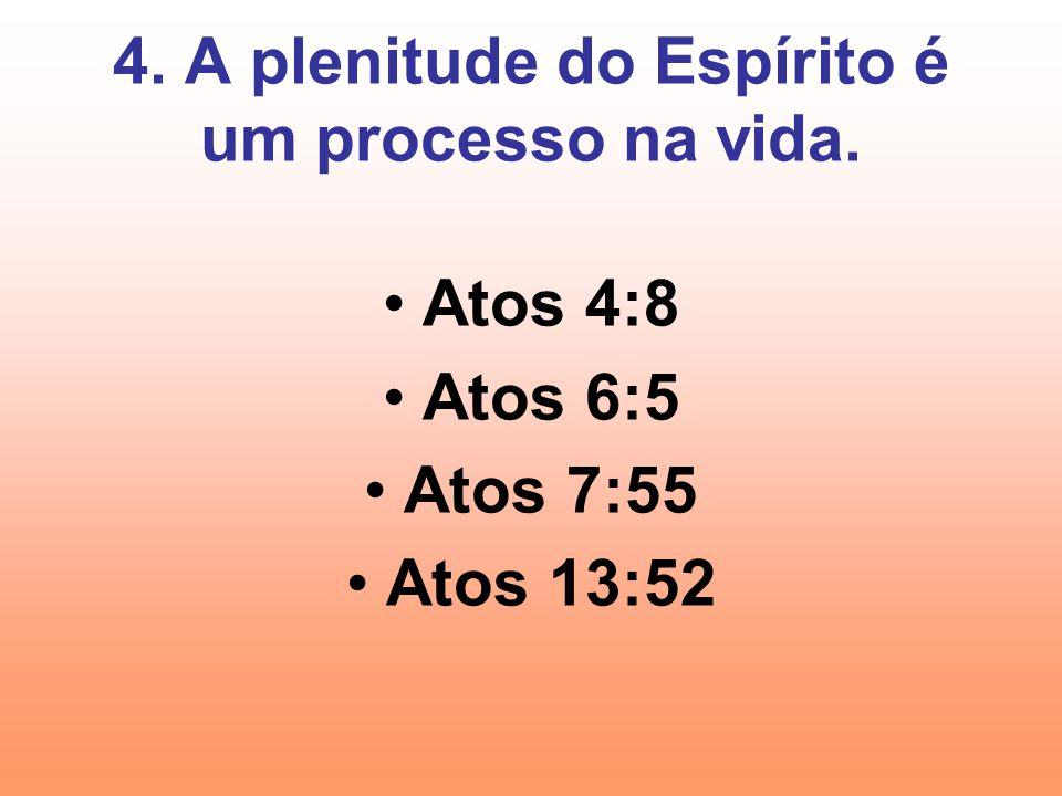 4. A plenitude do Espírito é um processo na vida.