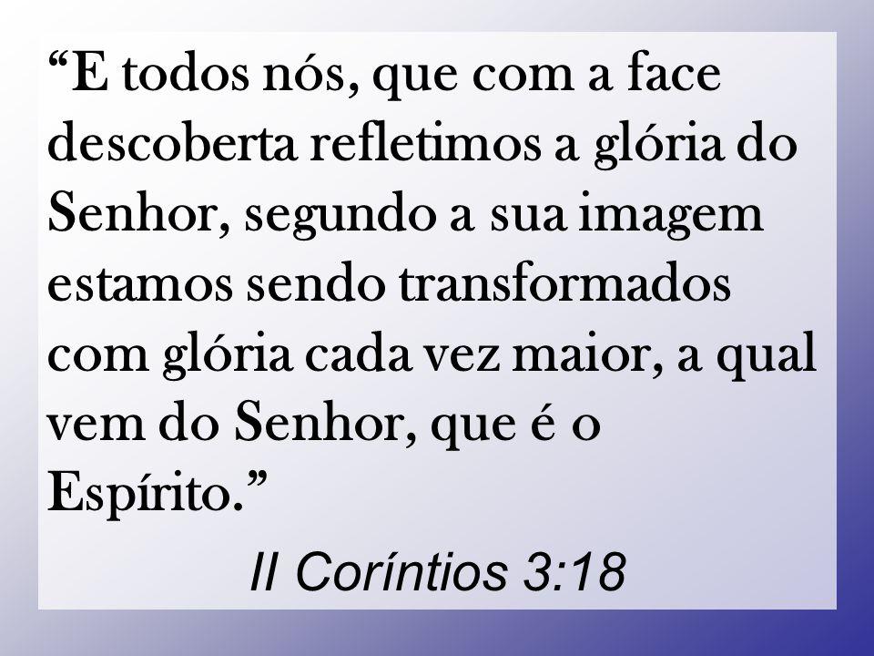 E todos nós, que com a face descoberta refletimos a glória do Senhor, segundo a sua imagem estamos sendo transformados com glória cada vez maior, a qual vem do Senhor, que é o Espírito.