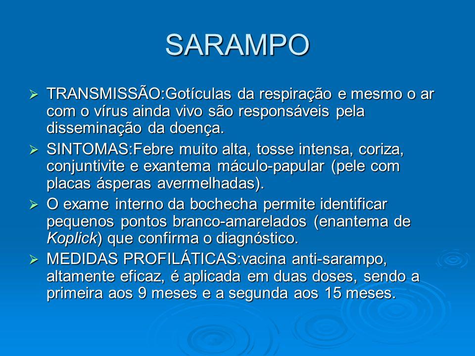 SARAMPO TRANSMISSÃO:Gotículas da respiração e mesmo o ar com o vírus ainda vivo são responsáveis pela disseminação da doença.