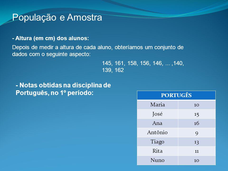 População e Amostra - Altura (em cm) dos alunos: Depois de medir a altura de cada aluno, obteríamos um conjunto de dados com o seguinte aspecto: