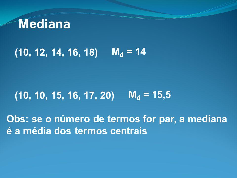 Mediana (10, 12, 14, 16, 18) Md = 14. (10, 10, 15, 16, 17, 20) Md = 15,5. Obs: se o número de termos for par, a mediana.