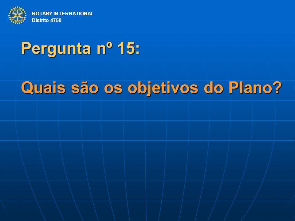 Pergunta nº 15: Quais são os objetivos do Plano