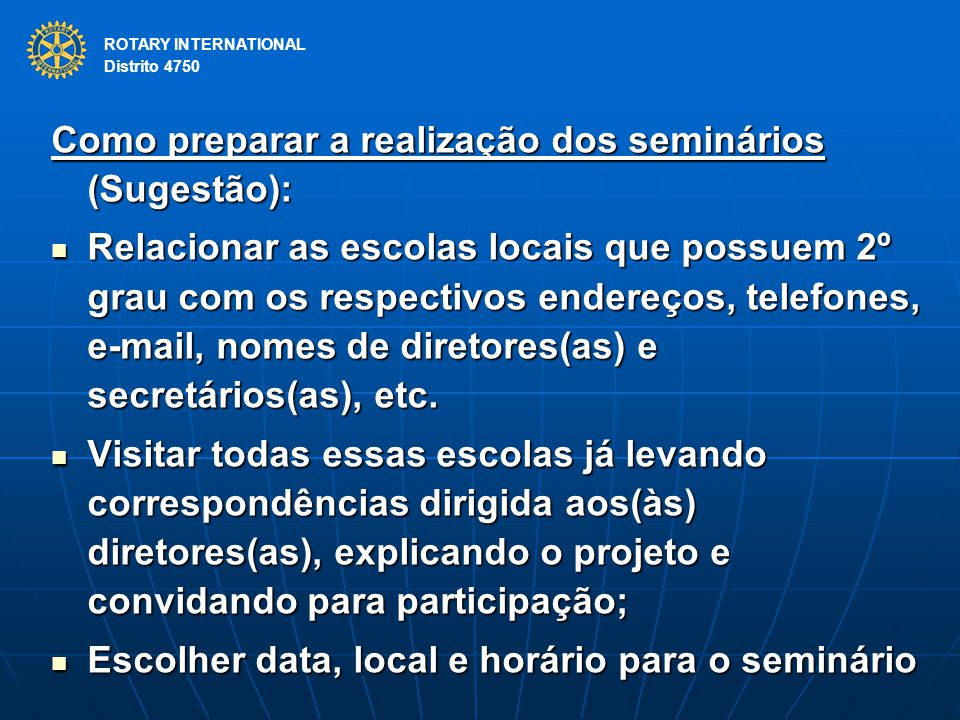 Como preparar a realização dos seminários (Sugestão):