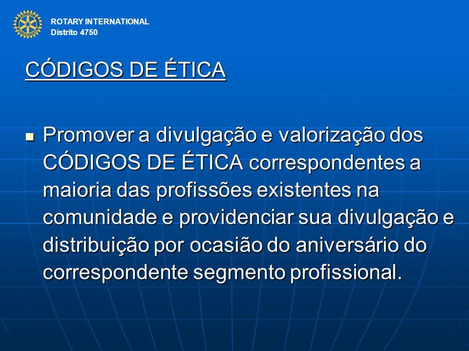 ROTARY INTERNATIONAL Distrito 4750. CÓDIGOS DE ÉTICA.