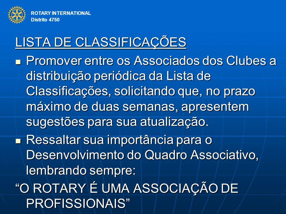 LISTA DE CLASSIFICAÇÕES