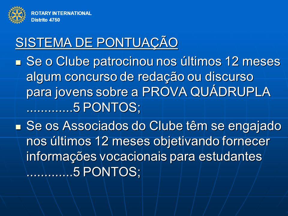 ROTARY INTERNATIONAL Distrito 4750. SISTEMA DE PONTUAÇÃO.