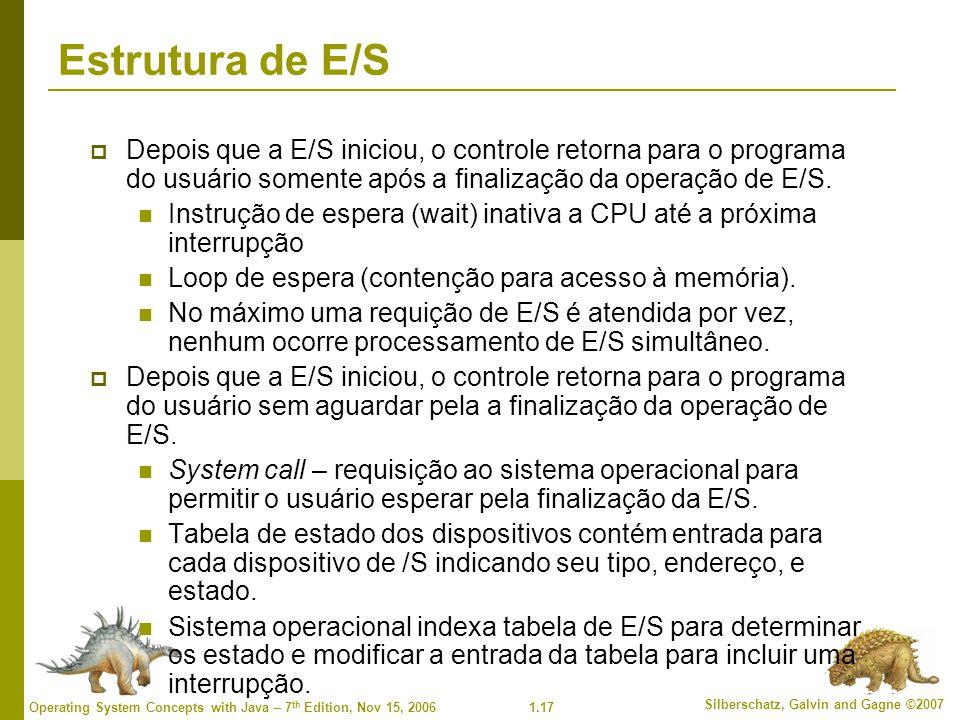 Estrutura de E/S Depois que a E/S iniciou, o controle retorna para o programa do usuário somente após a finalização da operação de E/S.