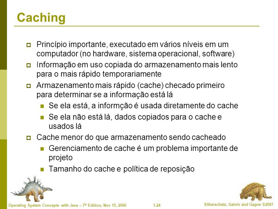 Caching Princípio importante, executado em vários níveis em um computador (no hardware, sistema operacional, software)