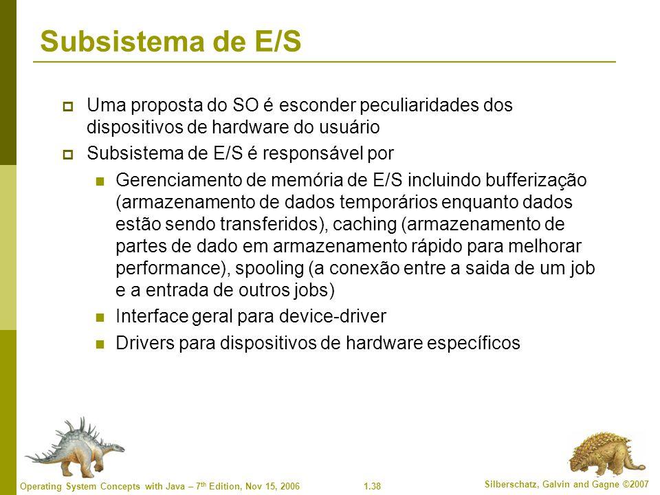 Subsistema de E/S Uma proposta do SO é esconder peculiaridades dos dispositivos de hardware do usuário.