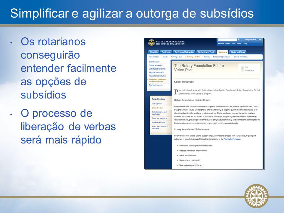Simplificar e agilizar a outorga de subsídios