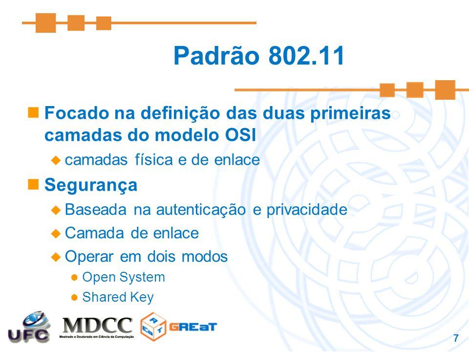 Padrão 802.11 Focado na definição das duas primeiras camadas do modelo OSI. camadas física e de enlace.