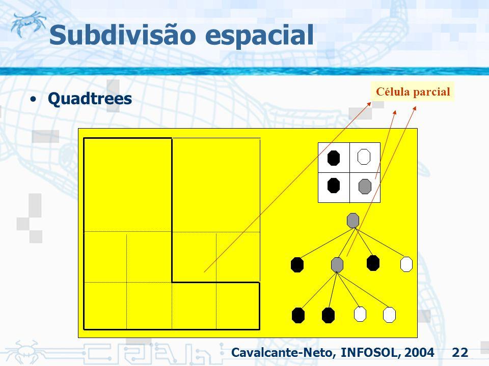 Subdivisão espacial Quadtrees Célula parcial