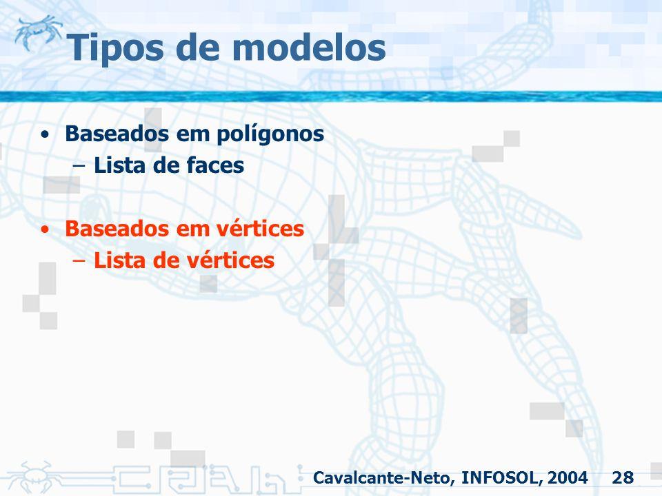 Tipos de modelos Baseados em polígonos Lista de faces